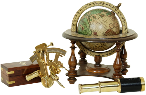 globe, telescope, and compass rose graphic